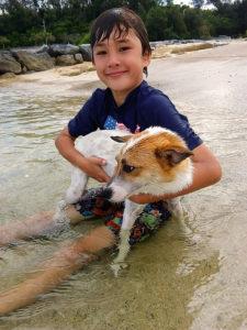 ヒメ(犬)と海水浴