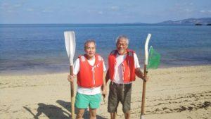 恩納村名嘉真の海で釣り 仲良し同級生